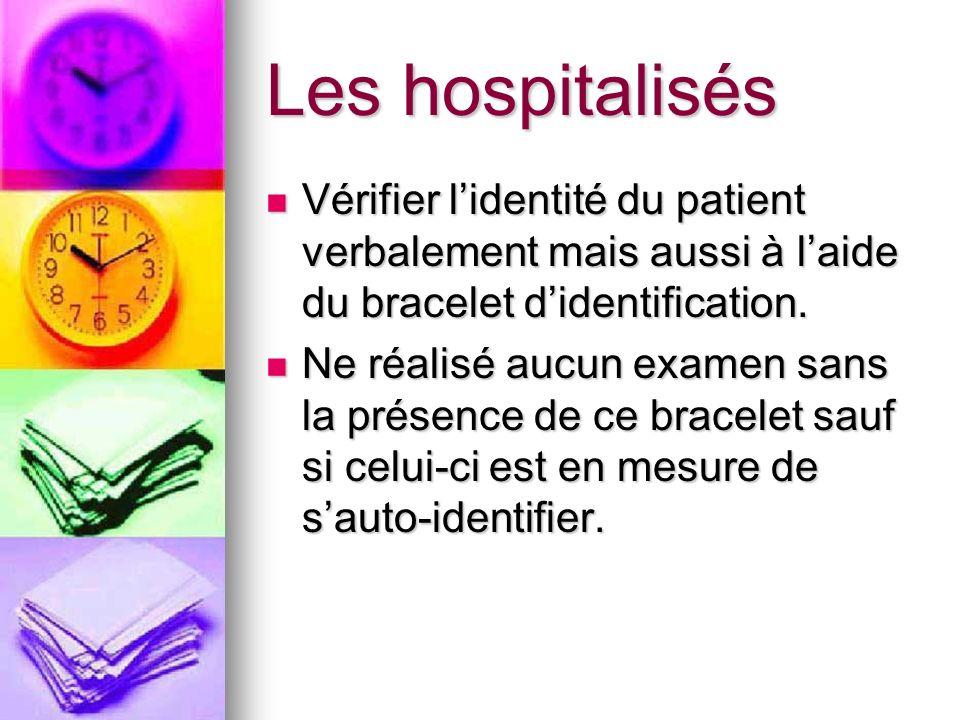 Les hospitalisés Vérifier lidentité du patient verbalement mais aussi à laide du bracelet didentification. Vérifier lidentité du patient verbalement m