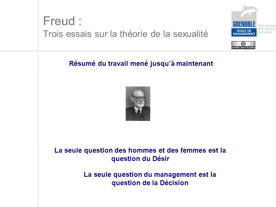 Freud : Trois essais sur la théorie de la sexualité Résumé du travail mené jusquà maintenant La seule question des hommes et des femmes est la questio