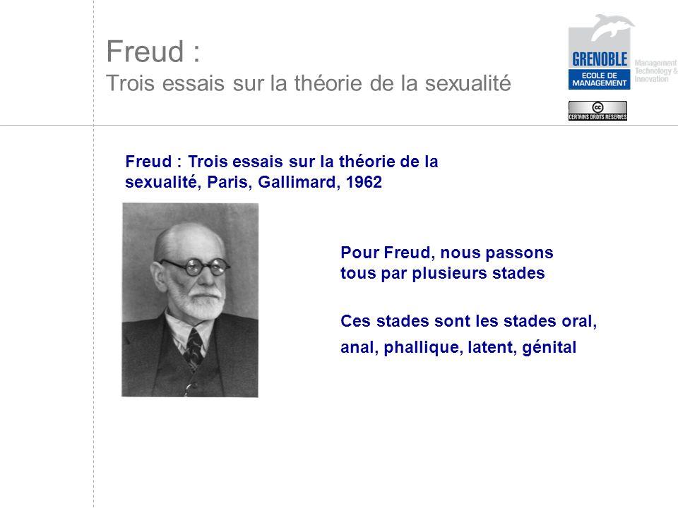 Ces stades sont les stades oral, anal, phallique, latent, génital Freud : Trois essais sur la théorie de la sexualité, Paris, Gallimard, 1962 Pour Fre