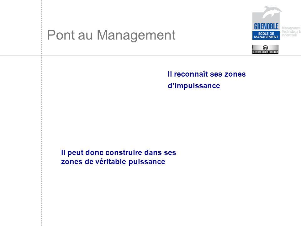Pont au Management Il reconnaît ses zones dimpuissance Il peut donc construire dans ses zones de véritable puissance