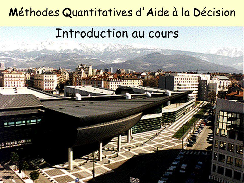 1 / 11 Intro. MQAD Objectifs Organisation Intro. RO Méthodes Quantitatives d'Aide à la Décision Introduction au cours