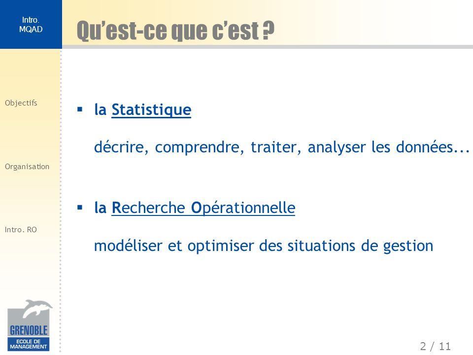 2 / 11 Intro. MQAD Objectifs Organisation Intro. RO la Statistique décrire, comprendre, traiter, analyser les données... la Recherche Opérationnelle m