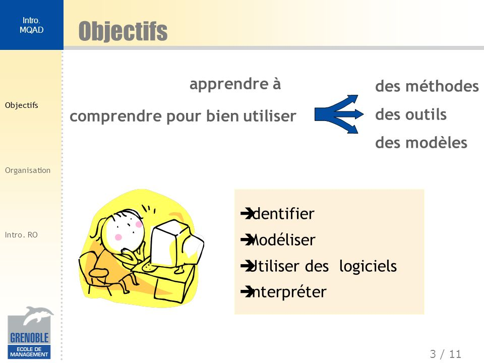 4 / 11 Intro.MQAD Objectifs Organisation Intro. RO Pédagogie flexible A.