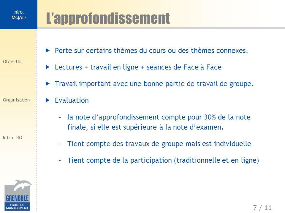 8 / 11 Intro.MQAD Objectifs Organisation Intro.