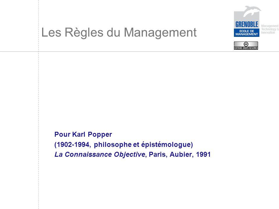 Les Règles du Management Pour Karl Popper (1902-1994, philosophe et épistémologue) La Connaissance Objective, Paris, Aubier, 1991