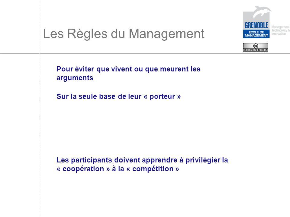 Les Règles du Management Pour éviter que vivent ou que meurent les arguments Sur la seule base de leur « porteur » Les participants doivent apprendre
