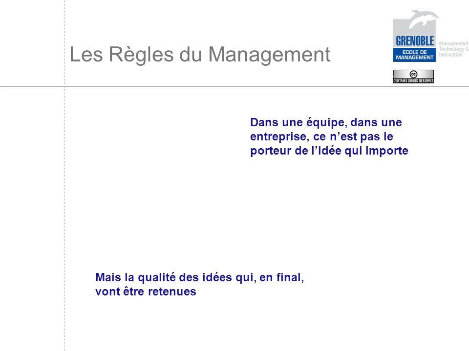Les Règles du Management Dans une équipe, dans une entreprise, ce nest pas le porteur de lidée qui importe Mais la qualité des idées qui, en final, vo