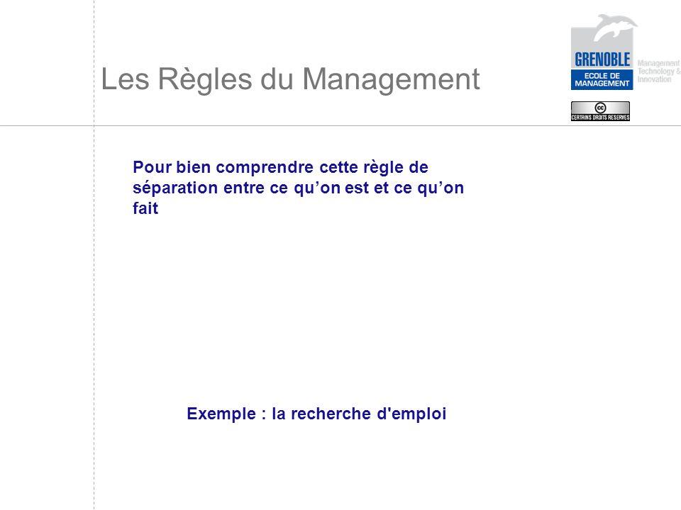 Les Règles du Management Pour bien comprendre cette règle de séparation entre ce quon est et ce quon fait Exemple : la recherche d'emploi
