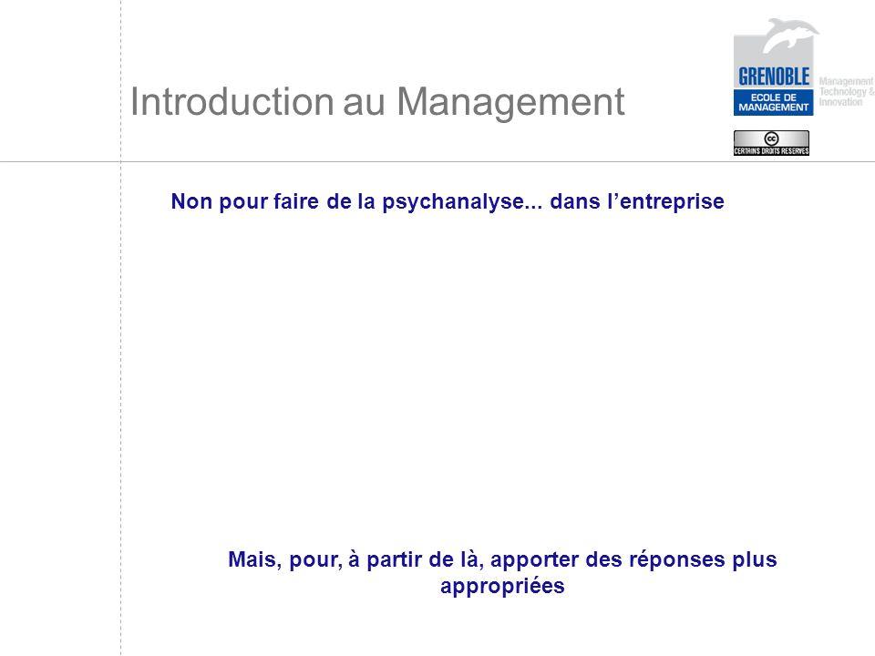 Introduction au Management Non pour faire de la psychanalyse... dans lentreprise Mais, pour, à partir de là, apporter des réponses plus appropriées