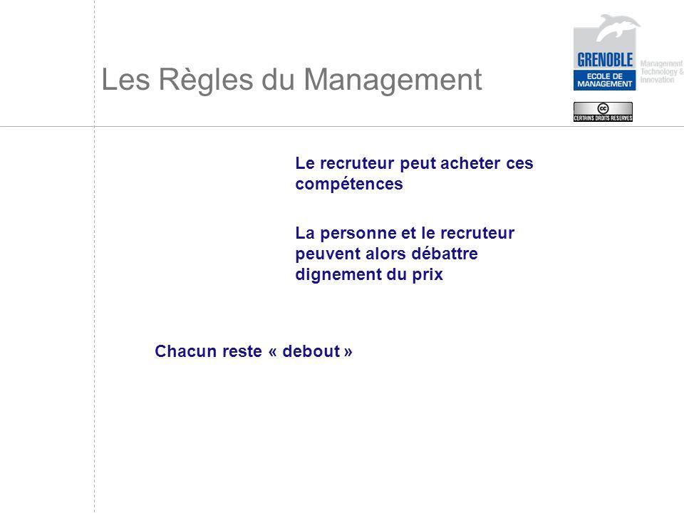 Les Règles du Management Le recruteur peut acheter ces compétences La personne et le recruteur peuvent alors débattre dignement du prix Chacun reste «