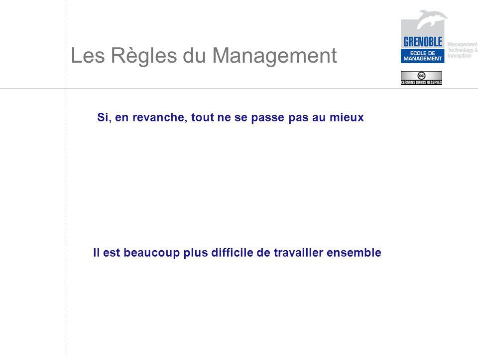 Les Règles du Management Si, en revanche, tout ne se passe pas au mieux Il est beaucoup plus difficile de travailler ensemble