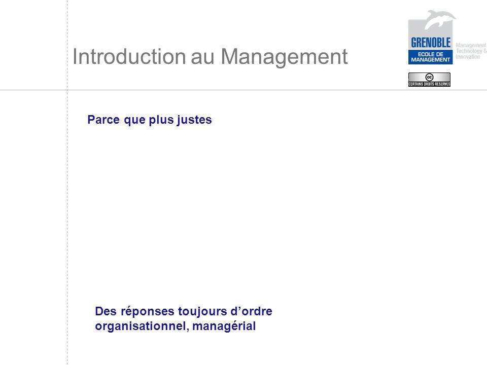 Introduction au Management Parce que plus justes Des réponses toujours dordre organisationnel, managérial