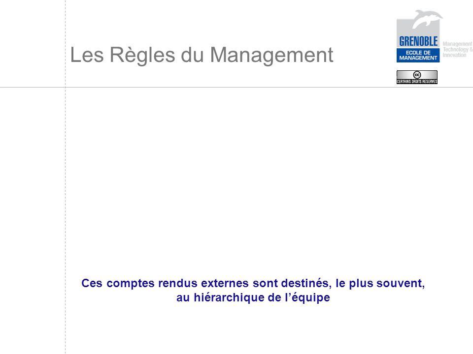 Les Règles du Management Ces comptes rendus externes sont destinés, le plus souvent, au hiérarchique de léquipe