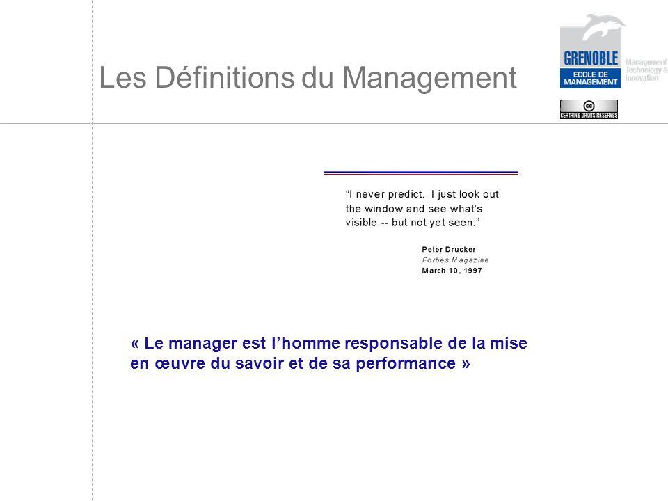 Les Définitions du Management « Le manager est lhomme responsable de la mise en œuvre du savoir et de sa performance »