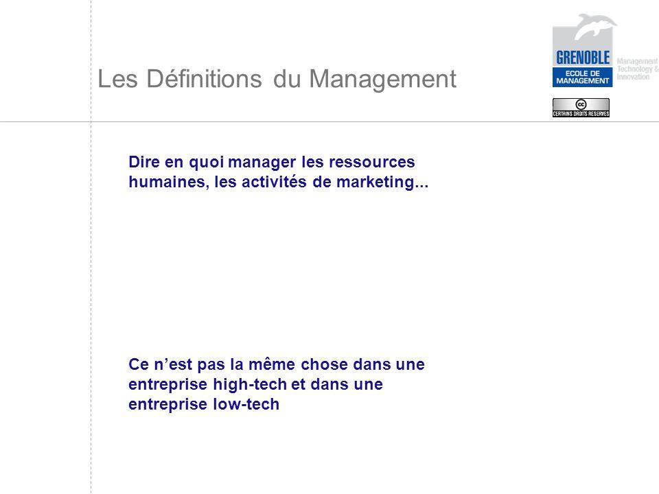 Les Définitions du Management Dire en quoi manager les ressources humaines, les activités de marketing... Ce nest pas la même chose dans une entrepris