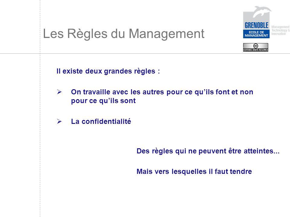 Les Règles du Management Il existe deux grandes règles : On travaille avec les autres pour ce quils font et non pour ce quils sont La confidentialité