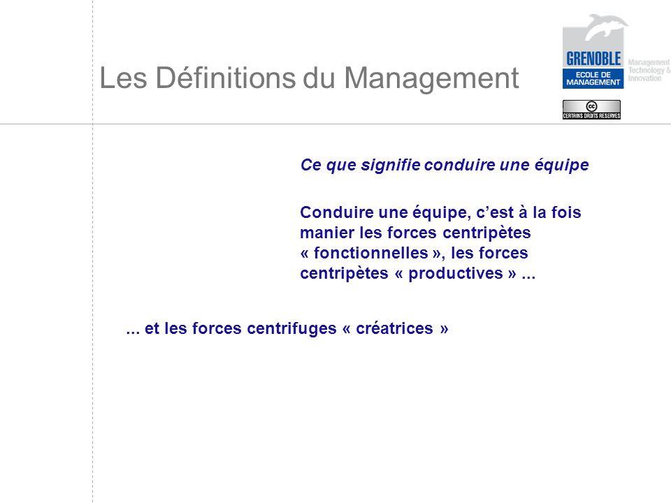 Les Définitions du Management Ce que signifie conduire une équipe Conduire une équipe, cest à la fois manier les forces centripètes « fonctionnelles »