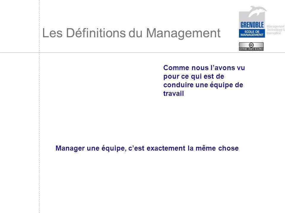 Les Définitions du Management Comme nous lavons vu pour ce qui est de conduire une équipe de travail Manager une équipe, cest exactement la même chose