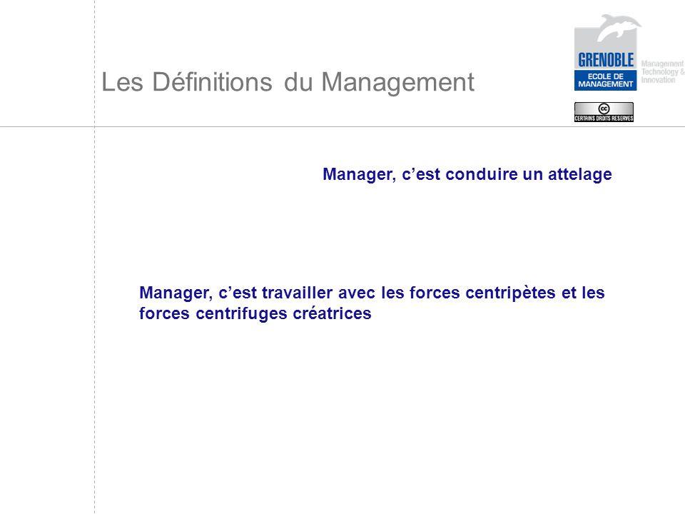 Les Définitions du Management Manager, cest conduire un attelage Manager, cest travailler avec les forces centripètes et les forces centrifuges créatr