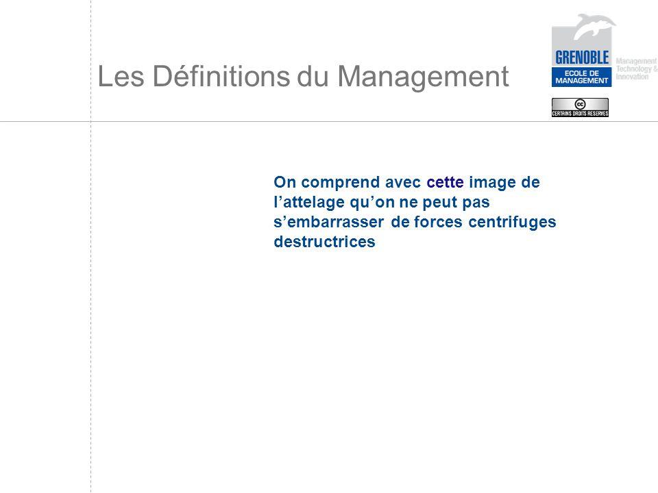 Les Définitions du Management On comprend avec cette image de lattelage quon ne peut pas sembarrasser de forces centrifuges destructrices