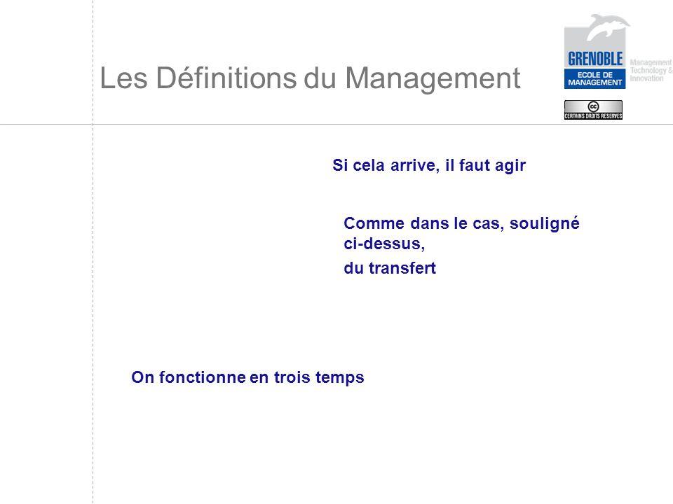 Les Définitions du Management Si cela arrive, il faut agir Comme dans le cas, souligné ci-dessus, du transfert On fonctionne en trois temps