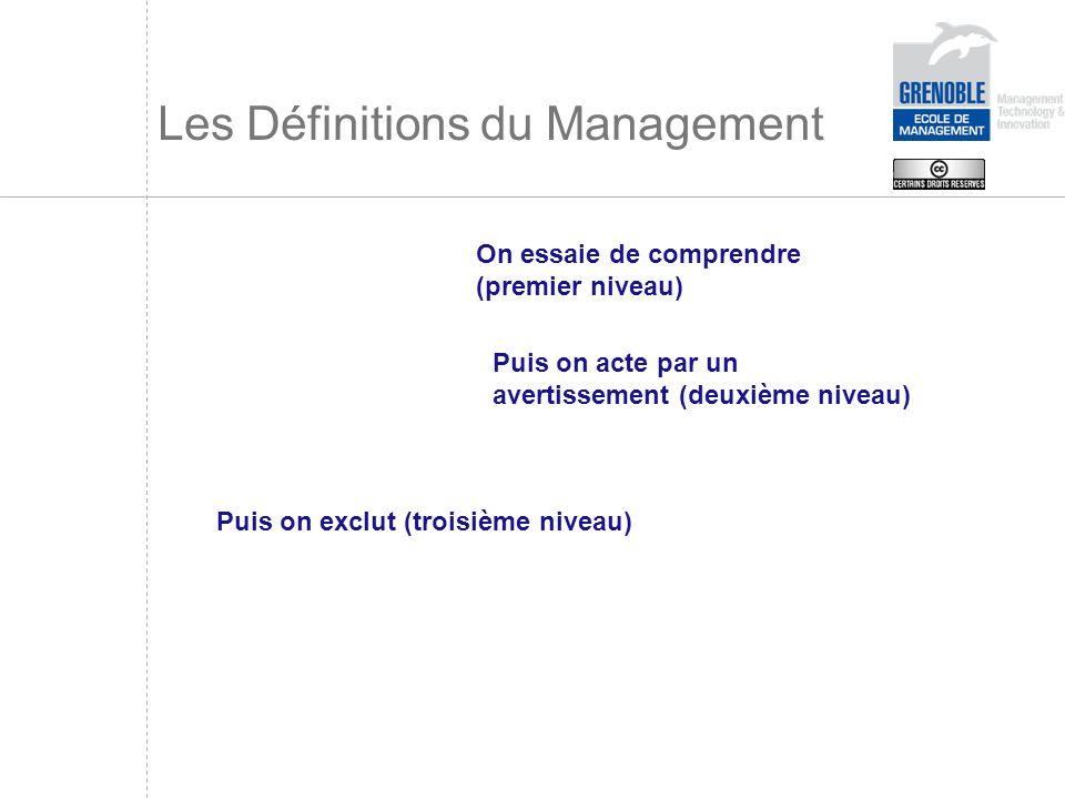 Les Définitions du Management On essaie de comprendre (premier niveau) Puis on acte par un avertissement (deuxième niveau) Puis on exclut (troisième n