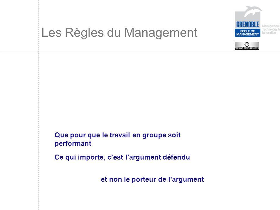 Les Règles du Management Que pour que le travail en groupe soit performant Ce qui importe, cest l'argument défendu et non le porteur de l'argument