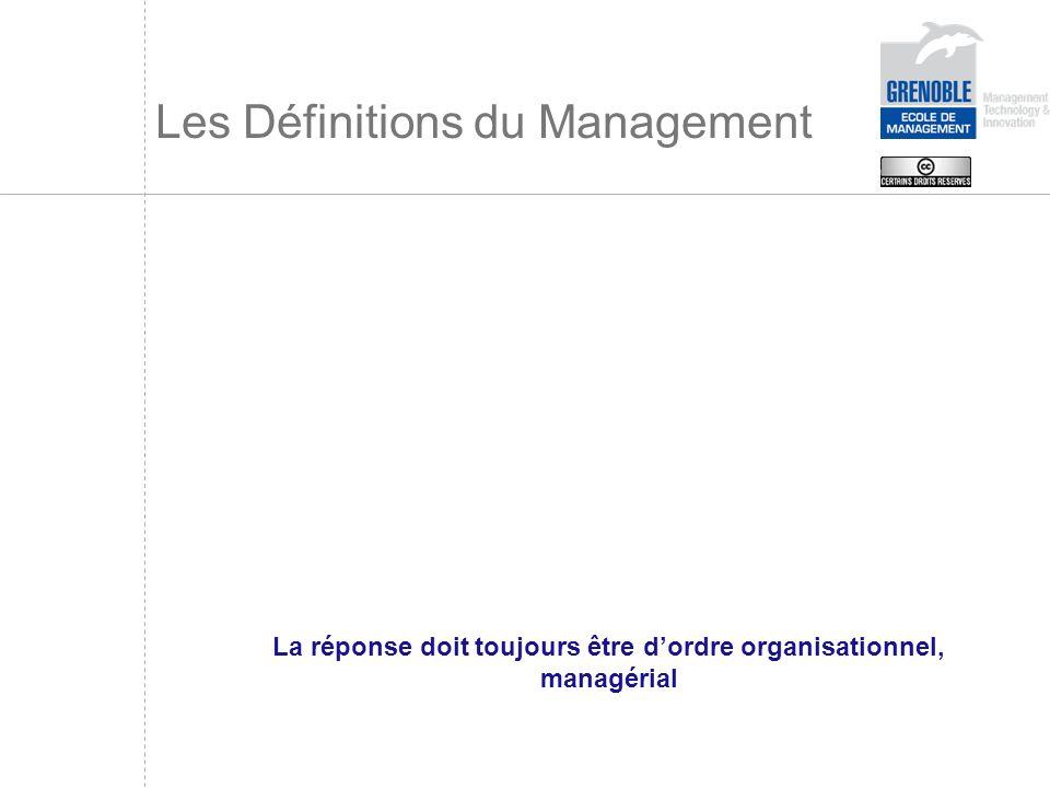 Les Définitions du Management La réponse doit toujours être dordre organisationnel, managérial