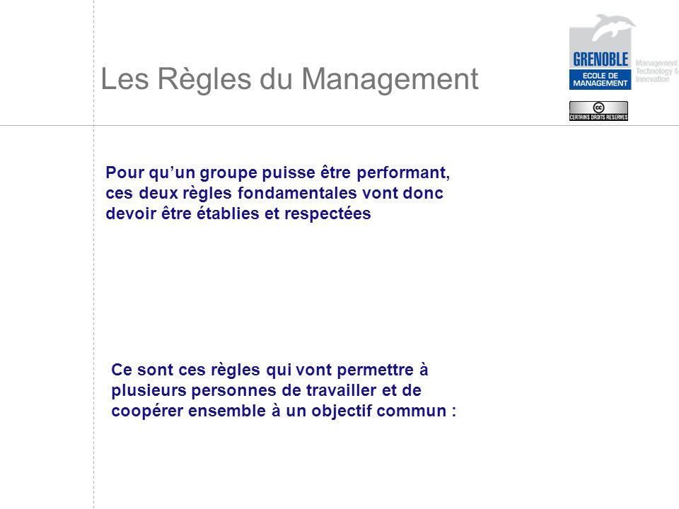 Les Règles du Management Pour quun groupe puisse être performant, ces deux règles fondamentales vont donc devoir être établies et respectées Ce sont c