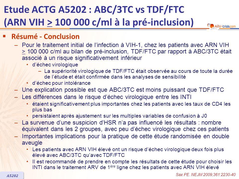 Etude ACTG A5202 : ABC/3TC vs TDF/FTC (ARN VIH > 100 000 c/ml à la pré-inclusion) Résumé - Conclusion –Pour le traitement initial de linfection à VIH-