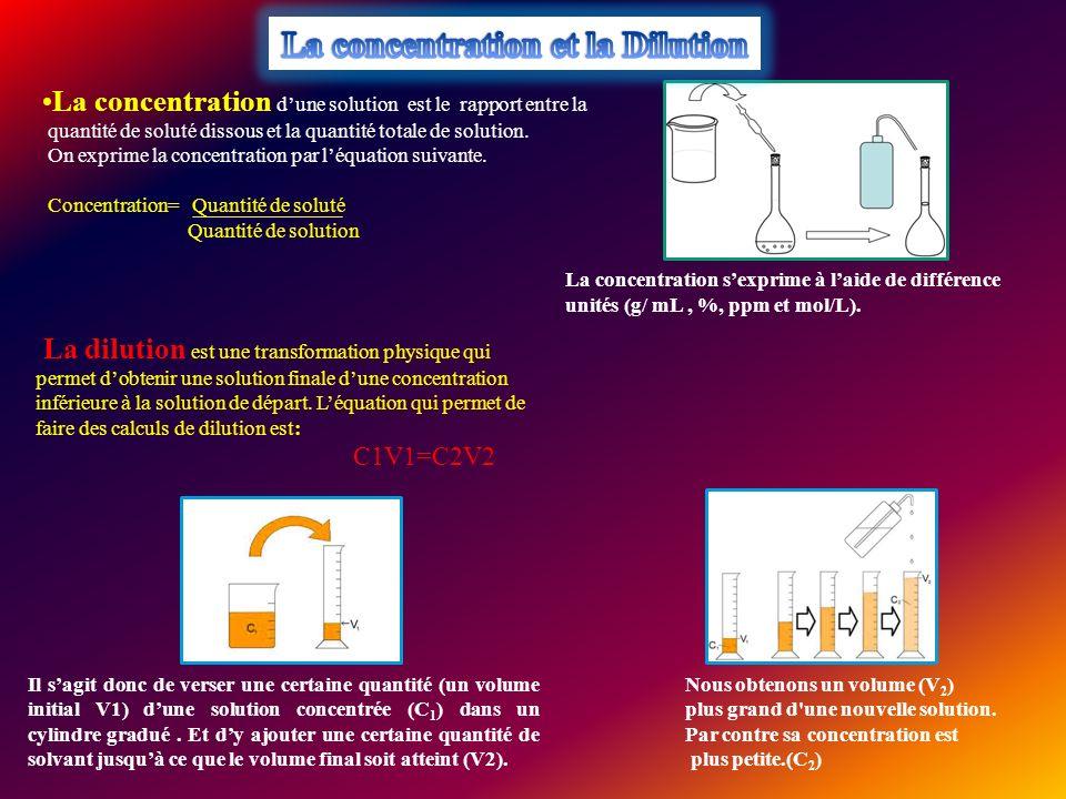 La concentration dune solution est le rapport entre la quantité de soluté dissous et la quantité totale de solution. On exprime la concentration par l