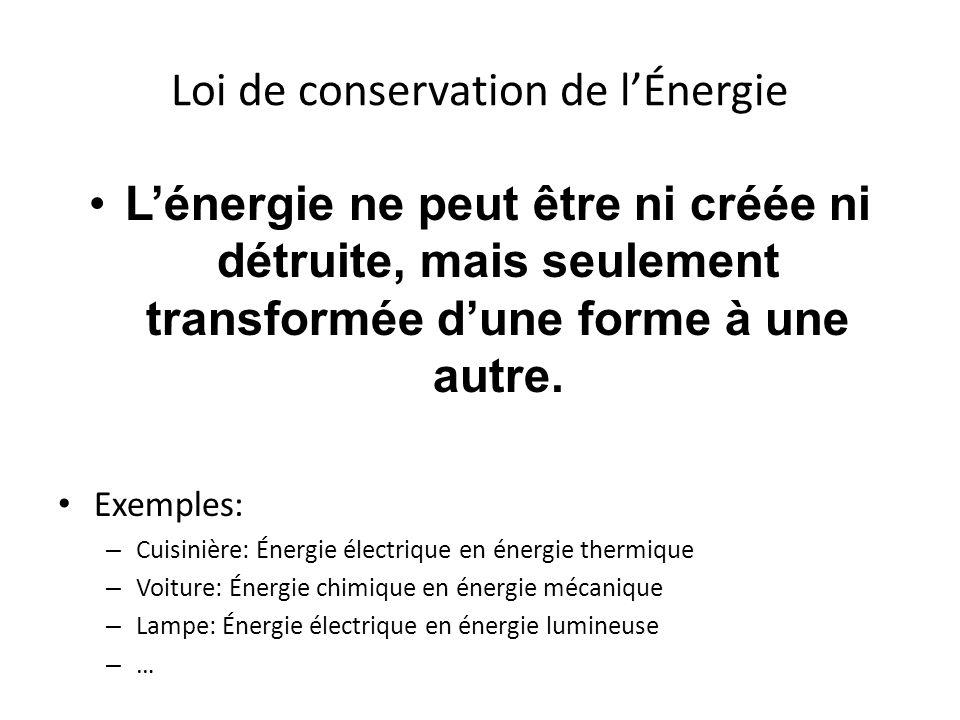 Loi de conservation de lÉnergie Lénergie ne peut être ni créée ni détruite, mais seulement transformée dune forme à une autre. Exemples: – Cuisinière: