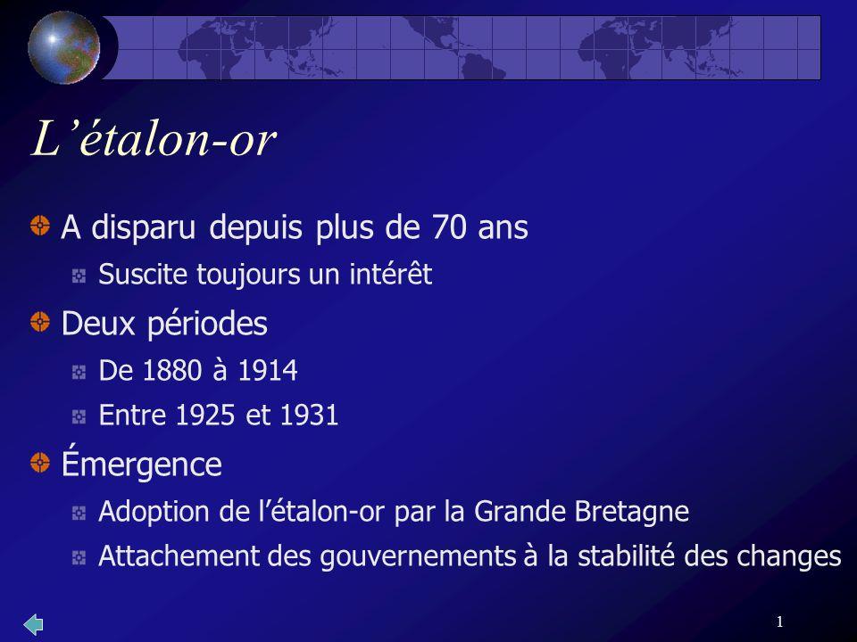 1 Létalon-or A disparu depuis plus de 70 ans Suscite toujours un intérêt Deux périodes De 1880 à 1914 Entre 1925 et 1931 Émergence Adoption de létalon