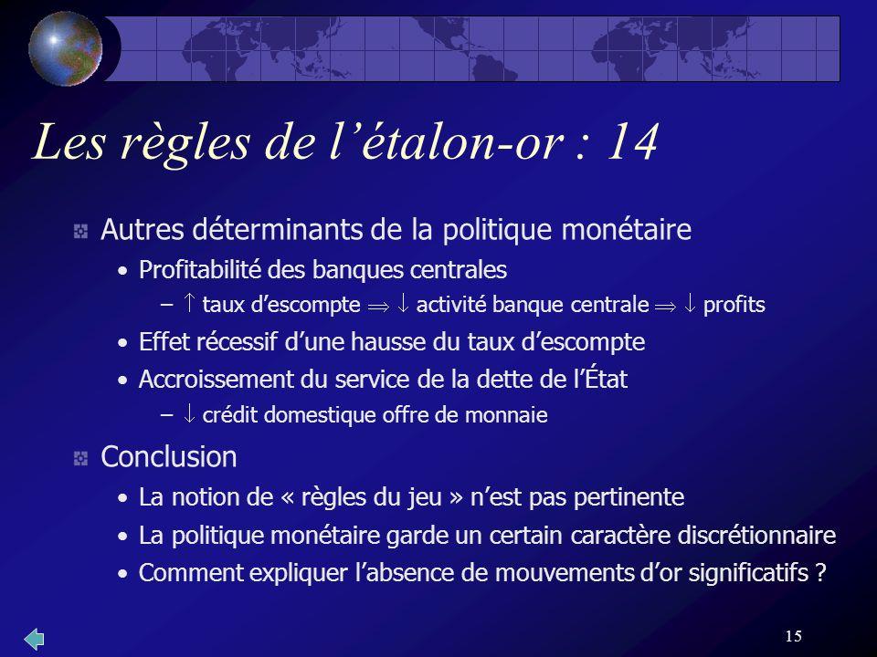 15 Les règles de létalon-or : 14 Autres déterminants de la politique monétaire Profitabilité des banques centrales – taux descompte activité banque ce