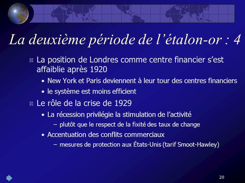 20 La deuxième période de létalon-or : 4 La position de Londres comme centre financier sest affaiblie après 1920 New York et Paris deviennent à leur t