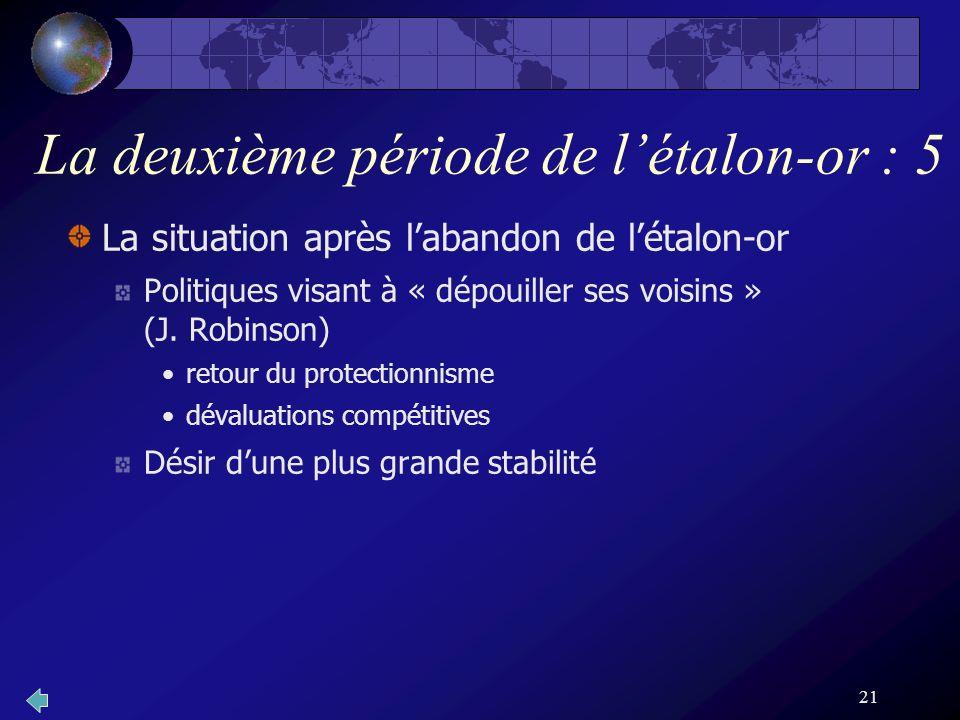 21 La deuxième période de létalon-or : 5 La situation après labandon de létalon-or Politiques visant à « dépouiller ses voisins » (J. Robinson) retour