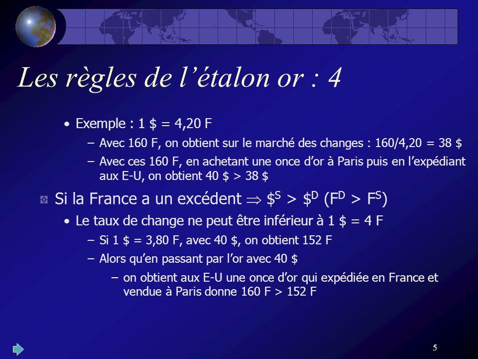 5 Les règles de létalon or : 4 Exemple : 1 $ = 4,20 F –Avec 160 F, on obtient sur le marché des changes : 160/4,20 = 38 $ –Avec ces 160 F, en achetant une once dor à Paris puis en lexpédiant aux E-U, on obtient 40 $ > 38 $ Si la France a un excédent $ S > $ D (F D > F S ) Le taux de change ne peut être inférieur à 1 $ = 4 F –Si 1 $ = 3,80 F, avec 40 $, on obtient 152 F –Alors quen passant par lor avec 40 $ –on obtient aux E-U une once dor qui expédiée en France et vendue à Paris donne 160 F > 152 F