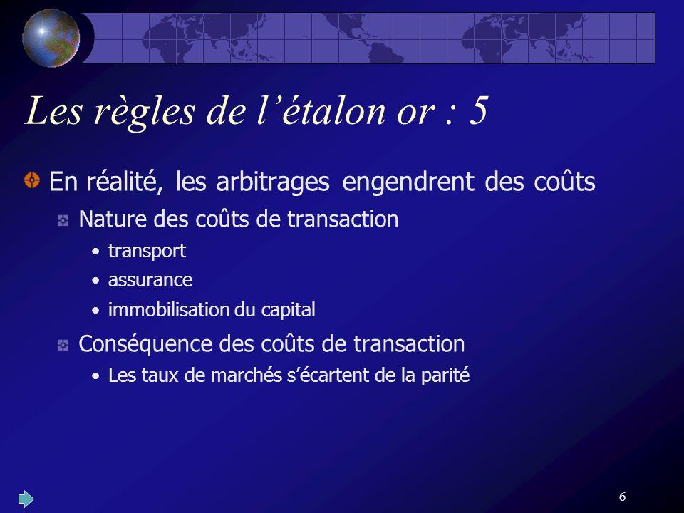 6 Les règles de létalon or : 5 En réalité, les arbitrages engendrent des coûts Nature des coûts de transaction transport assurance immobilisation du capital Conséquence des coûts de transaction Les taux de marchés sécartent de la parité