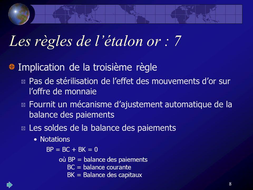 8 Les règles de létalon or : 7 Implication de la troisième règle Pas de stérilisation de leffet des mouvements dor sur loffre de monnaie Fournit un mé