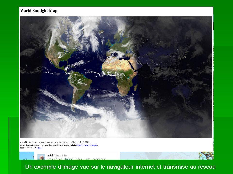 Un exemple dimage vue sur le navigateur internet et transmise au réseau