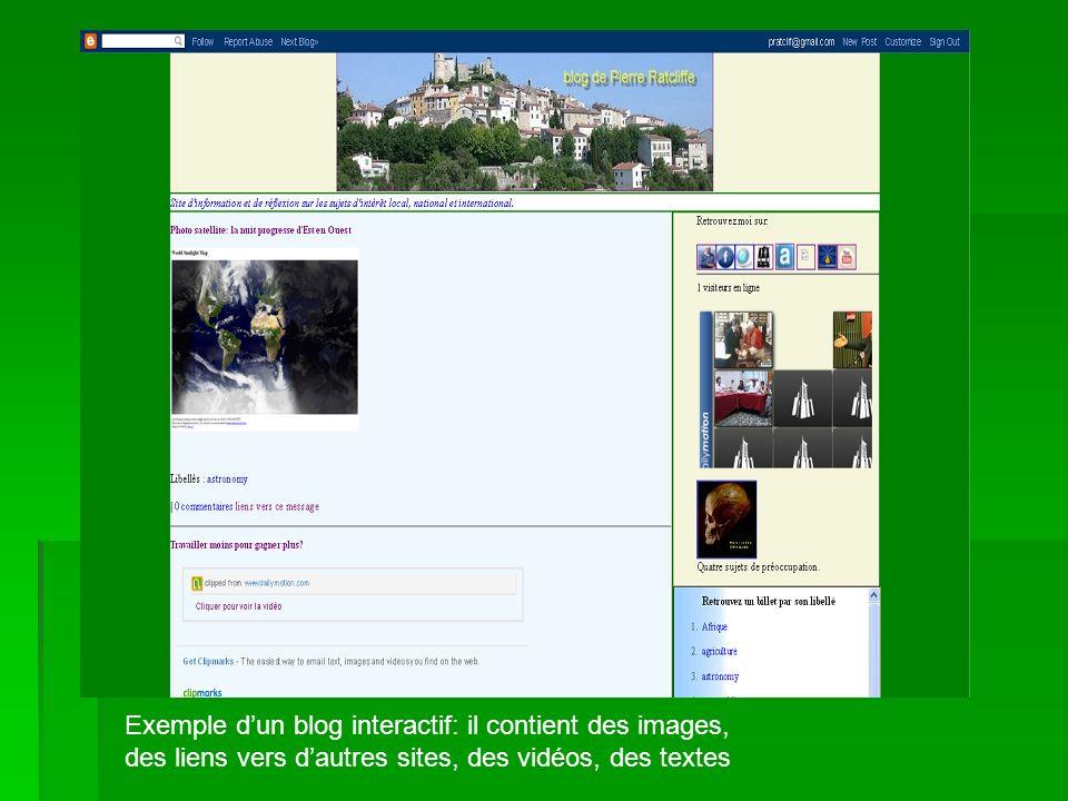 Exemple dun blog interactif: il contient des images, des liens vers dautres sites, des vidéos, des textes