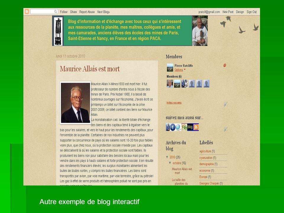 Autre exemple de blog interactif