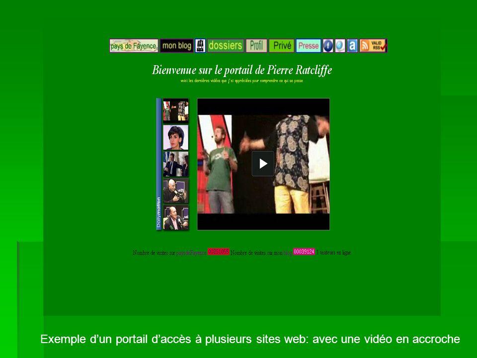 Exemple dun portail daccès à plusieurs sites web: avec une vidéo en accroche