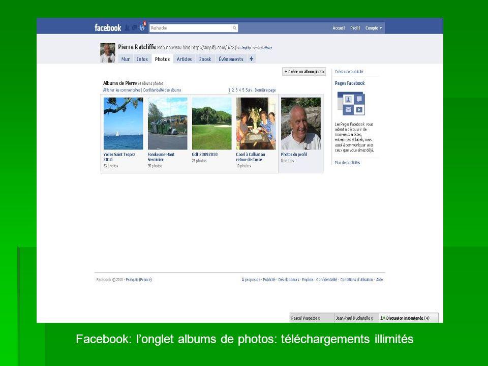 Facebook: longlet albums de photos: téléchargements illimités