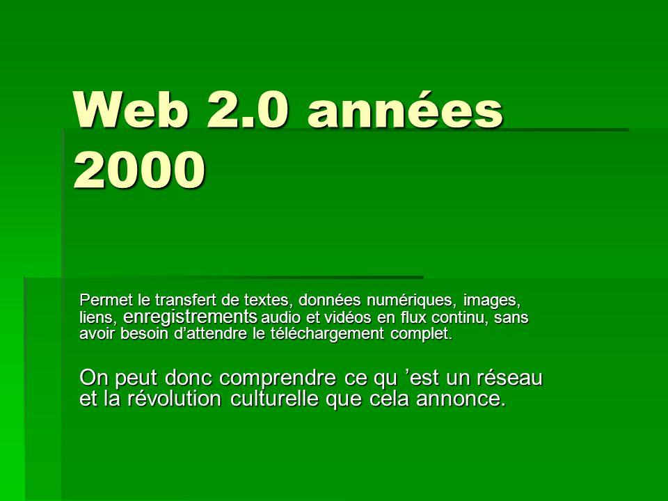 Web 2.0 années 2000 Permet le transfert de textes, données numériques, images, liens, enregistrements audio et vidéos en flux continu, sans avoir besoin dattendre le téléchargement complet.