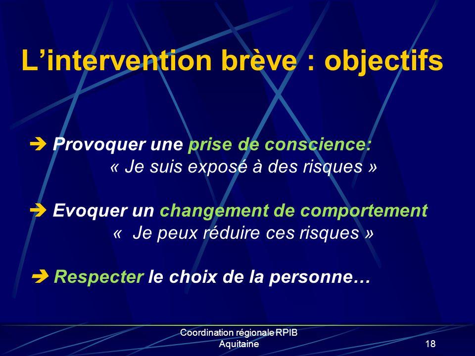 Coordination régionale RPIB Aquitaine18 Lintervention brève : objectifs Provoquer une prise de conscience: « Je suis exposé à des risques » Evoquer un