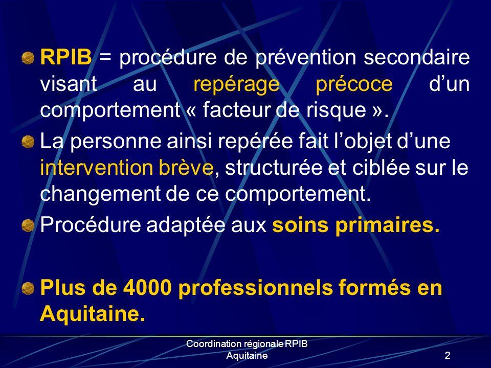 3 Le RPIB alcool Développé par lOMS dans les années 1990 Validé en France par lANPAA (« boire moins cest mieux ») dans le début des années 2000 Faisabilité démontrée en médecine générale par le réseau AGIR 33 (2003-2005): 13000 patients repérés et 3000 en mésusages.