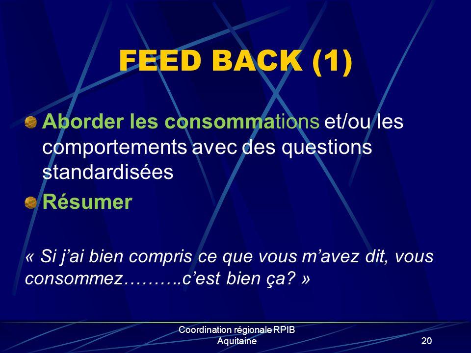 Coordination régionale RPIB Aquitaine20 FEED BACK (1) Aborder les consommations et/ou les comportements avec des questions standardisées Résumer « Si