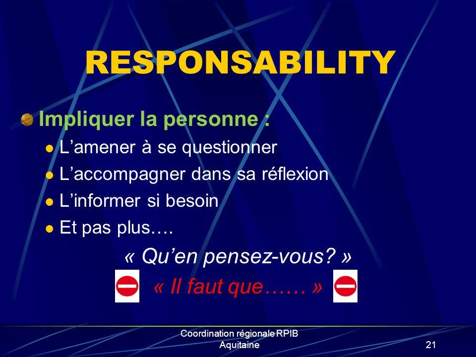Coordination régionale RPIB Aquitaine21 RESPONSABILITY Impliquer la personne : Lamener à se questionner Laccompagner dans sa réflexion Linformer si besoin Et pas plus….