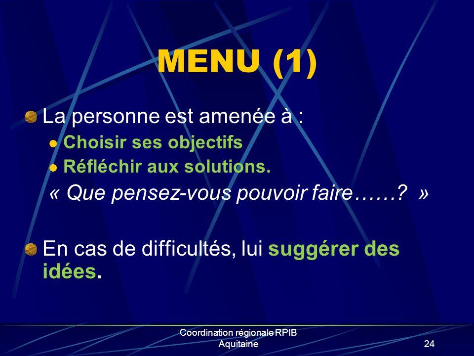 Coordination régionale RPIB Aquitaine24 MENU (1) La personne est amenée à : Choisir ses objectifs Réfléchir aux solutions. « Que pensez-vous pouvoir f